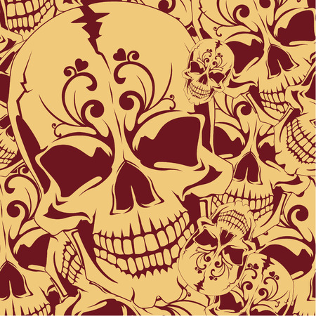 The vector image of Seamless background with skull and crossbones Illustration