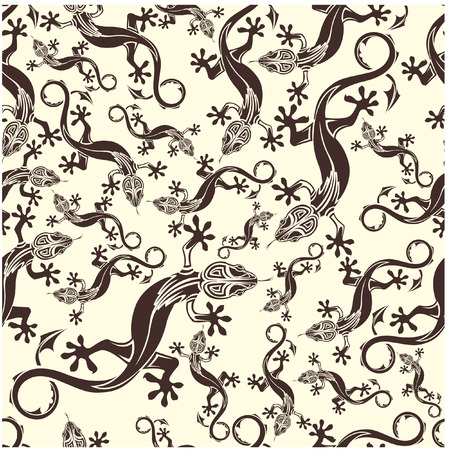 The vector image of Seamless pattern with lizards