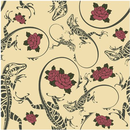 creeps: The vector image of Seamless pattern with lizards