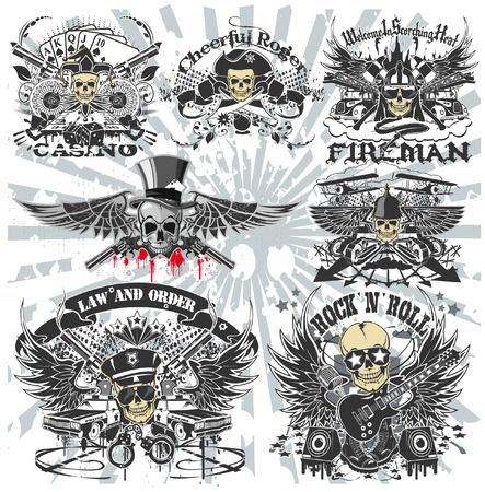 The vector image of Set of Stickers on the shirts with a skull Stock Illustratie