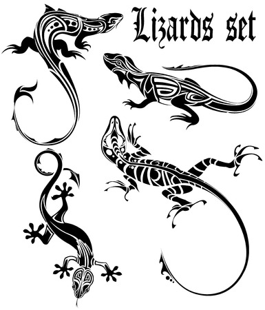 tribal animals: The vector image of  LIZARDS SET