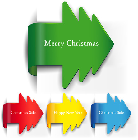 The vector image of set of arrows in the form of Christmas trees