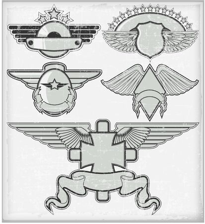 The vector image of Set of badges in style of a retro 일러스트