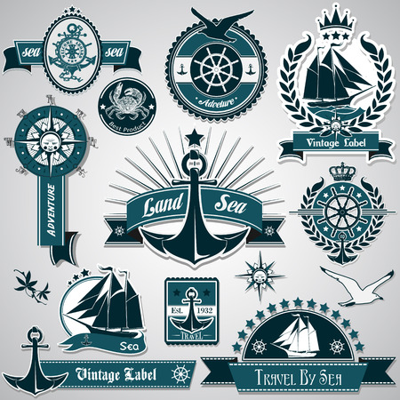nautical rope: The vector image of Large collection of vintage nautical labels Illustration