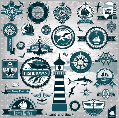 The vector image of Large collection of vintage nautical labels Ilustração