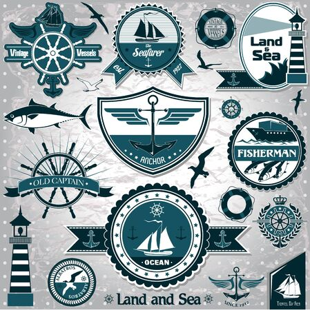 The vector image of Large collection of vintage nautical labels Иллюстрация