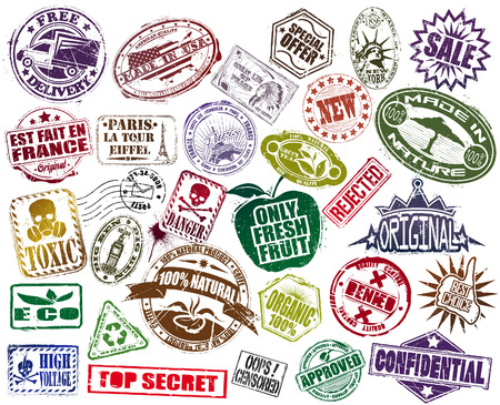 rubber stamp: The vector image of Mega Set Of Stamp