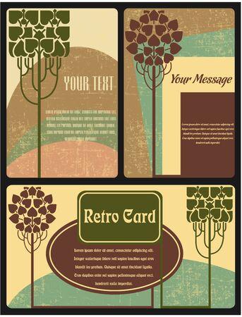 레트로 스타일의 카드 세트의 벡터 이미지 스톡 콘텐츠 - 38890965