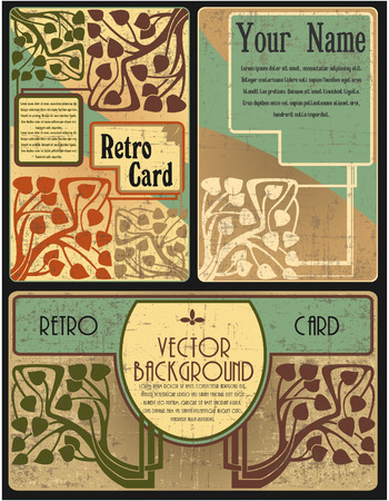 The vector image of Set of cards in style of the Retro 일러스트