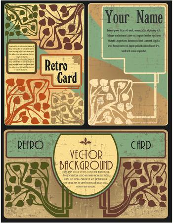복고 스타일 카드의 집합의 벡터 이미지 스톡 콘텐츠 - 38890968