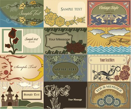 The vector image of Set of cards in style the Vintage Иллюстрация
