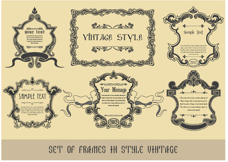 The vector image of Set of frames in style the Vintage 일러스트