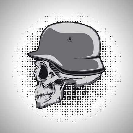 cartoon biker: The vector image of Skull in a soldiers helmet.