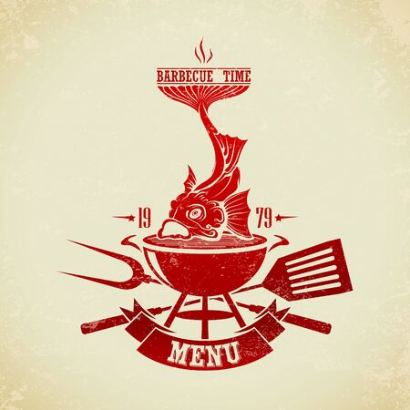 The vector image of  Vintage BBQ Grill Party 일러스트