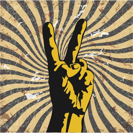peace symbols: The vector image of  Gesture of hand in a vector grunge Illustration