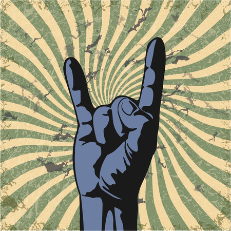 hand showing thumbs up: The vector image of  Gesture of hand in a vector grunge Illustration