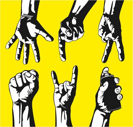 symbol hand: Die Vektor-Bild Set von Gesten der H�nde in einem Vektor