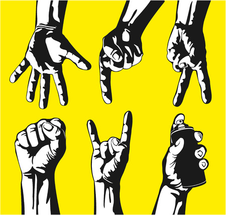 pointing hand: The vector image of  Set of gestures of hands in a vector