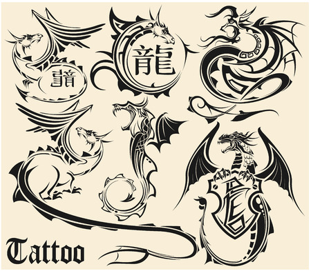 dragon tattoo: The vector image of Set of sketches of tattoos of a dragon