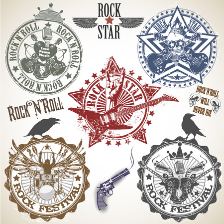 The vector image of Set of stamps with symbols rock n roll Ilustração