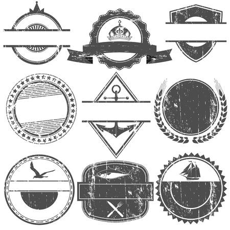 cuadrados: El vector de imagen Juego de sellos de vector con un lugar vacío para el texto