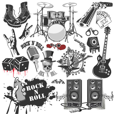 The vector image of  set of vector symbols related to rock and roll