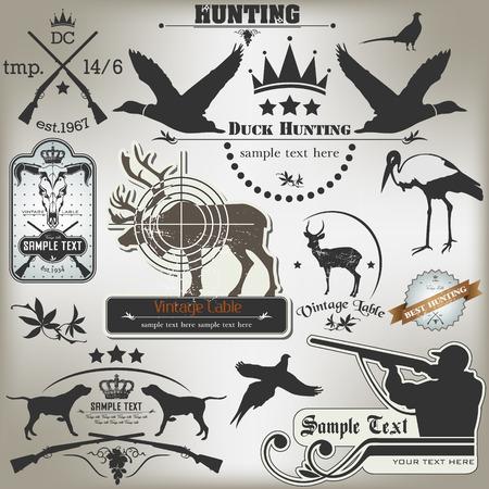 一連の狩猟型のラベルのベクトル画像