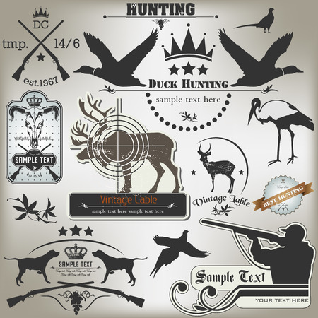 The vector image of Set of vintage labels on hunting