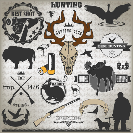 The vector image of Set of vintage labels on hunting Vector