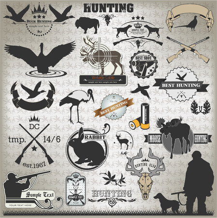gun silhouette: The vector image of Set of vintage labels on hunting