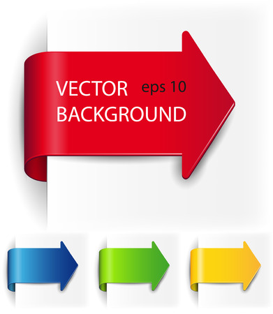 green banner: The vector image of Set vector arrows in the form of paper stickers