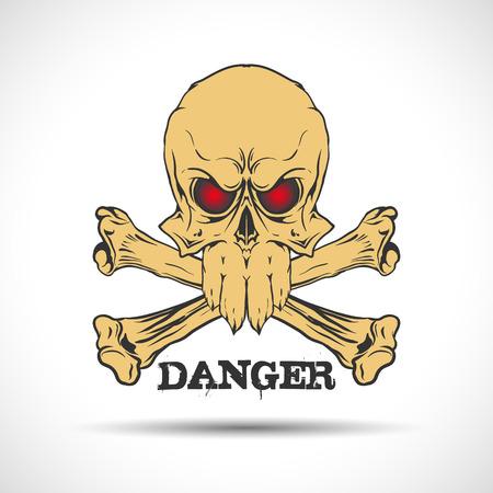 vector skull danger sign: The vector image of  Skull and bones. Danger sign.