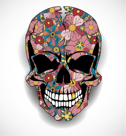 The vector image of  Skull with floral ornaments 矢量图像