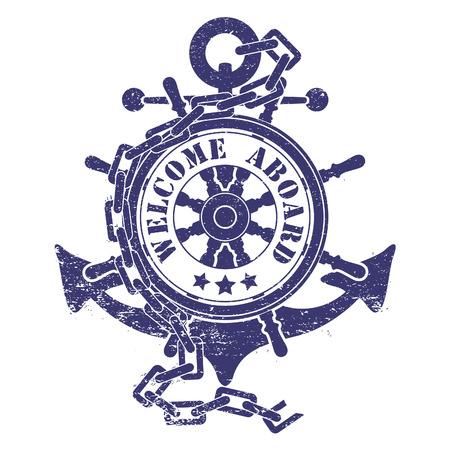 cartas antiguas: El vector de imagen Sello con un volante de un ancla una cadena y los barcos antiguos Vectores