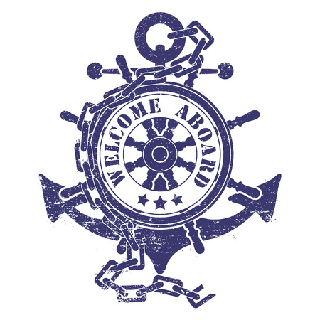 The vector image of  Stamp with a steering wheel an anchor a chain and the ancient ships