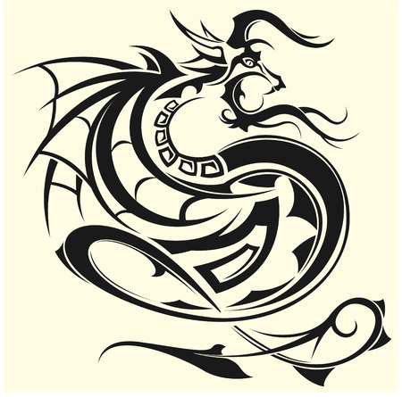 The vector image of Tattoo of a dragon Illustration