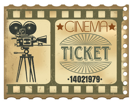The vector image of Ticket in cinema Ilustração