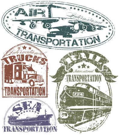 plan éloigné: L'image de vecteur de timbre de transport Set Illustration