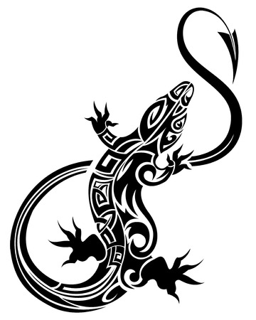 The vector image of tribal lizard 일러스트