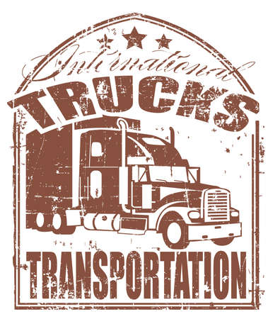 diesel: The vector image of Truck transportation stamp Illustration