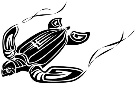 stylistic embellishments: The vector image of turtle tattoo