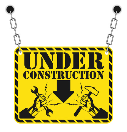 web page under construction: The vector image of Under construction stamp