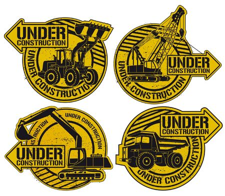 dump truck: The vector image of  Under construction stamp set Illustration