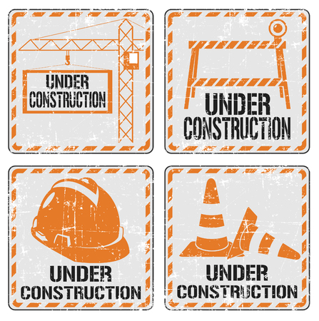 under construction symbol: The vector image of  Under construction sticker set