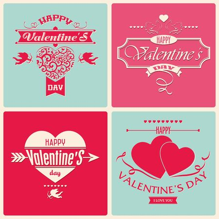 The vector image of Valentine Day greeting card in retro style