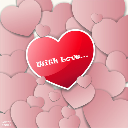 The vector image of Valentine day or Wedding vector background with hearts 일러스트