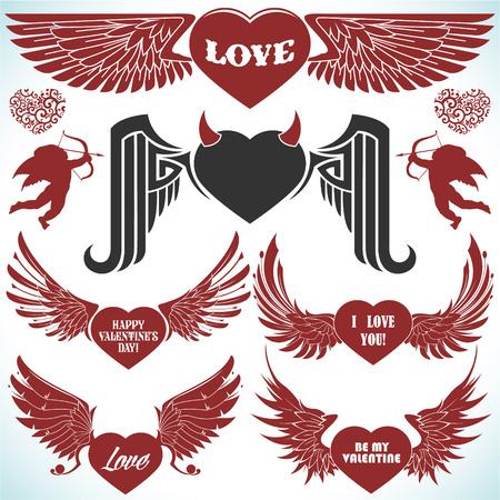 The vector image of Valentines vector set with wings
