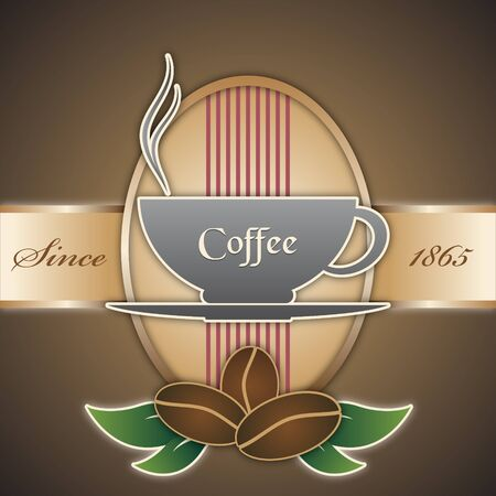 The vector image of  vector background in vintage style with a cup of coffee
