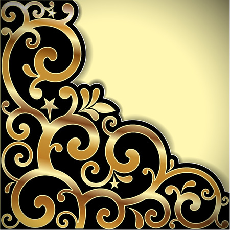 retro styled imagery: The vector image of  Vector background with a gold pattern. Illustration