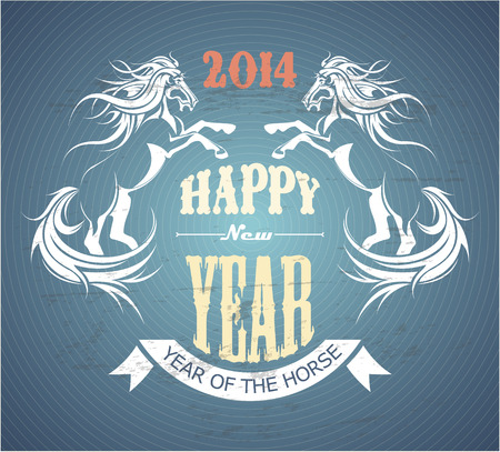 The vector image of  Vector background with horses and New Year Greetings